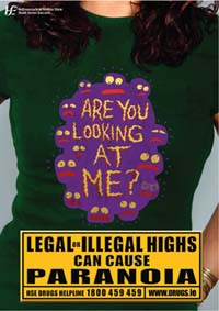 Poster - Legal or Illegal Highs can cause paranoia